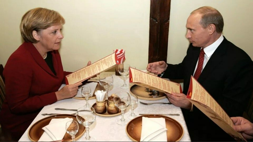 Путин Меркель завтрак