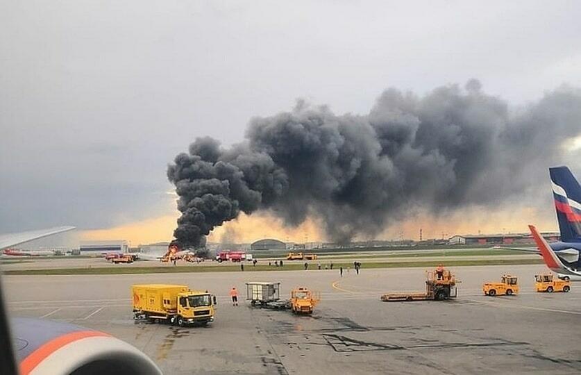 Сгорел самолет в Шереметьево