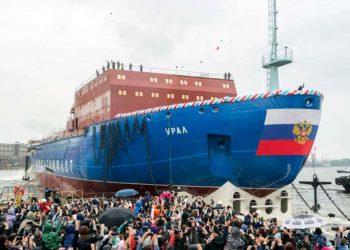 Спуск на воду ледокола Урал