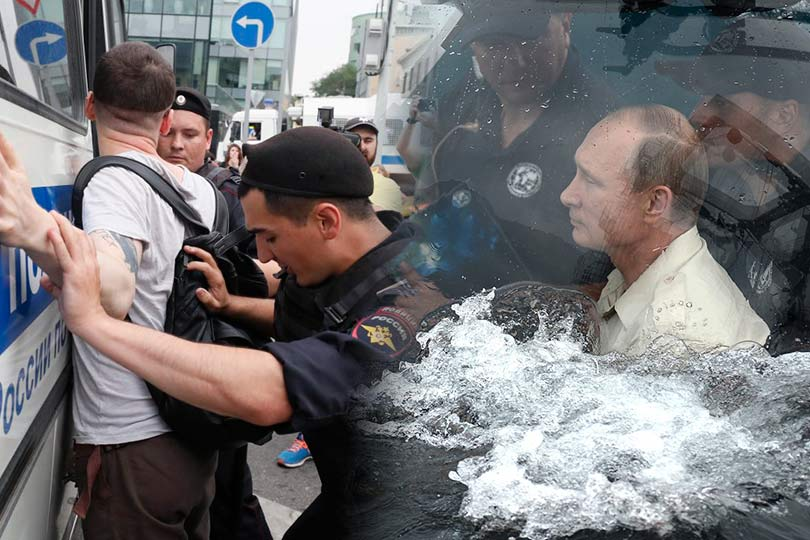 Путин в батискафе и митинг