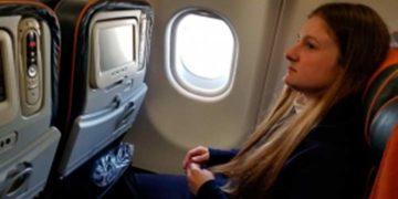 Мария Бутина в самолете