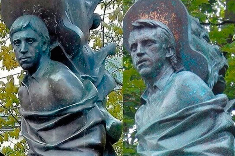 Памятник Высоцкому до и после реставрации