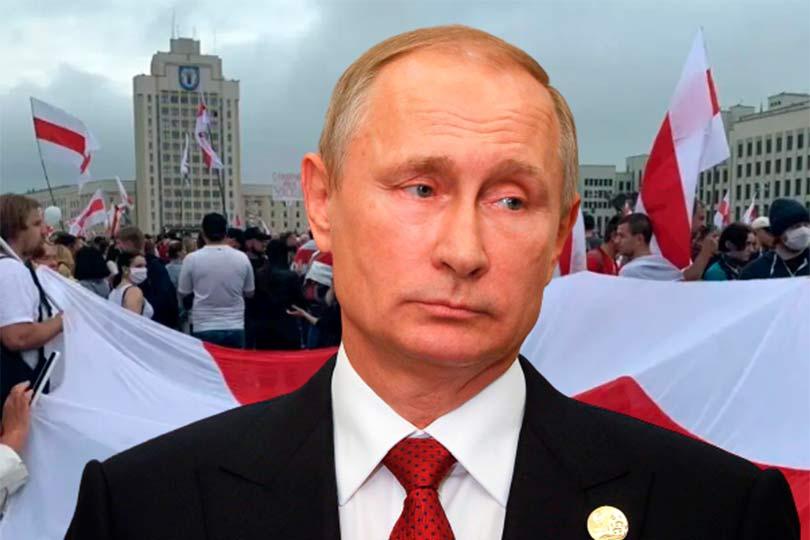Путин на фоне белорусский протестов