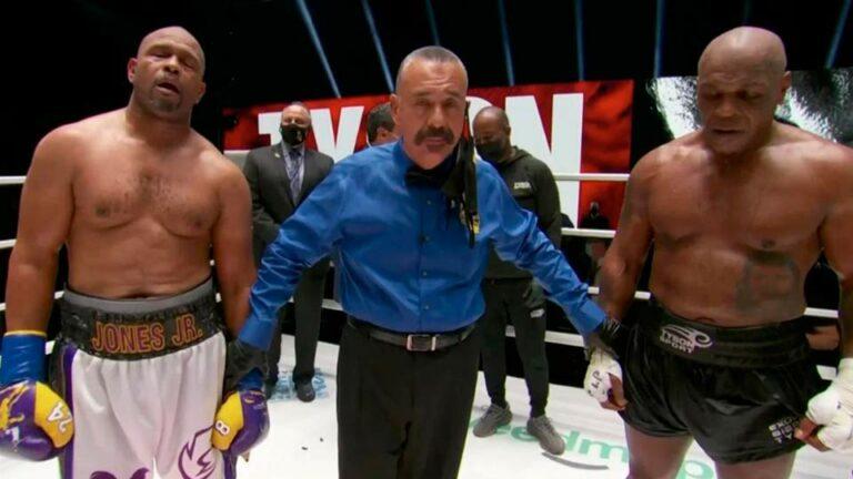 Долгожданный поединок двух легендарных боксеров Тайсона и Джонса завершился скандалом