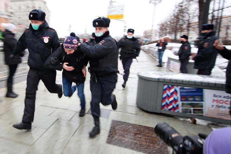 Задержание 23 января во время протестов
