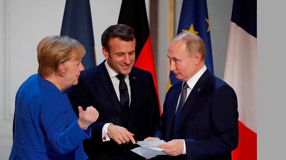 Путин, Макрон и Меркель